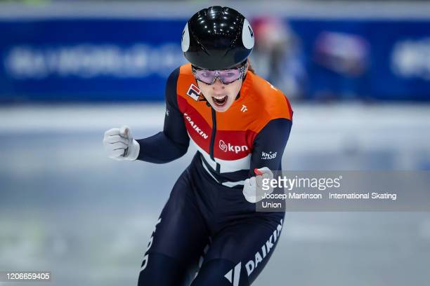 Lara van Ruijven of Netherlands celebrates in the Ladies 500m final during day 2 of the ISU World Cup Short Track at Sportboulevard on February 16...