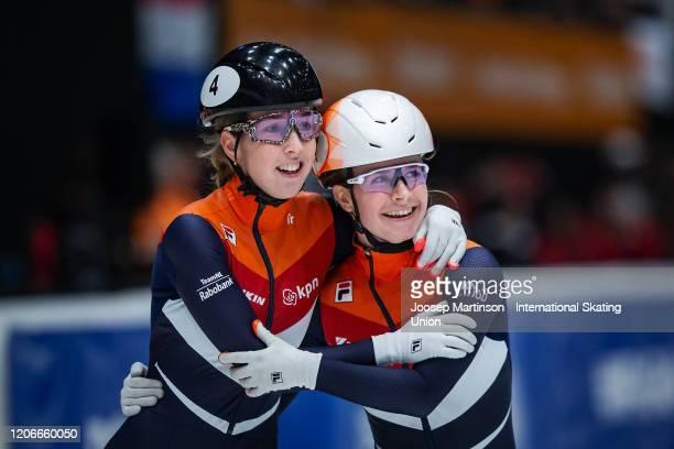 Lara van Ruijven of Netherlands celebrates with Yara van Kerkhof of Netherlands in the Ladies 500m final during day 2 of the ISU World Cup Short...