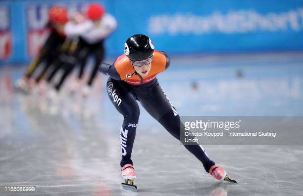 Lara van Ruijven of Netherlands competes during the ladies 3000 meter Superfinal of the ISU World Short Track Speed Skating Championships Day 3 at...