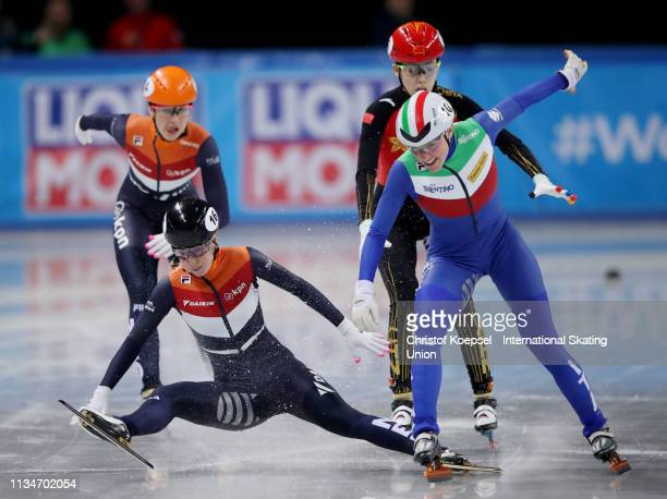 Lara van Ruijven of Netherlands crosses as first the finish line before Martina Valcepina of Italy #r during during the ladies 500 meter final A of...