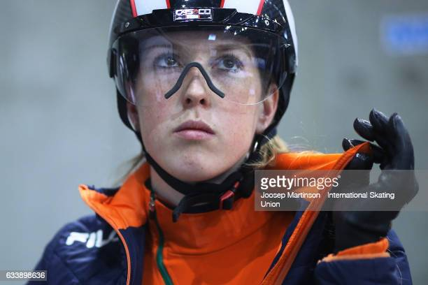 Lara van Ruijven of Netherlands prepares during day two of the ISU World Cup Short Track at EnergieVerbund Arena on February 5 2017 in Dresden Germany
