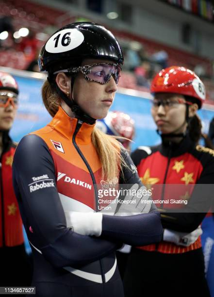 Lara van Ruijven of Netherlands prepares during the ISU World Short Track Speed Skating Championships Day 2 at Armeec Arena on March 09 2019 in Sofia...