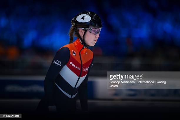 Lara van Ruijven of Netherlands prepares in the Ladies 500m final during day 2 of the ISU World Cup Short Track at Sportboulevard on February 16 2020...