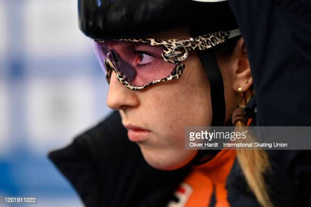 Lara van Ruijven of the Netherland looks on prior to the Ladies 1500m semi final race during the ISU European Short Track Speed Skating Championships...