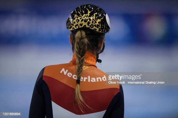 Lara van Ruijven of the Netherland looks on prior to the Ladies 500m final race during the ISU European Short Track Speed Skating Championships at...