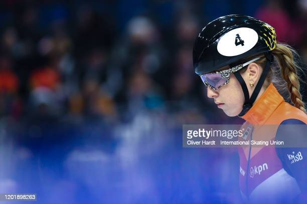 Lara van Ruijven of the Netherland looks on prior to the Ladies 500m semi final race during the ISU European Short Track Speed Skating Championships...