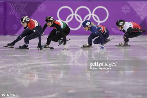 Lara Van Ruijven of the Netherlands Andrea Keszler of Hungary Elise Christie of Great Britain and Magdalena Warakomska of Poland compete during the...