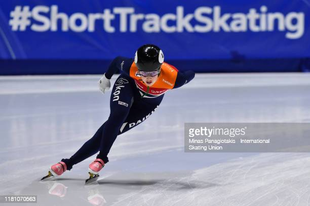 Lara Van Ruijven of the Netherlands competes in the ladies 1000 m quarterfinals during the ISU World Cup Short Track at Maurice Richard Arena on...
