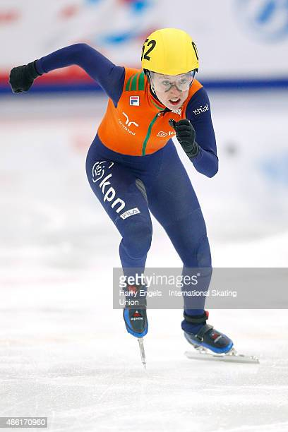 Lara van Ruijven of the Netherlands in action during the Ladies' 500m RRHeats on day two of the ISU World Short Track Speed Skating Championships at...