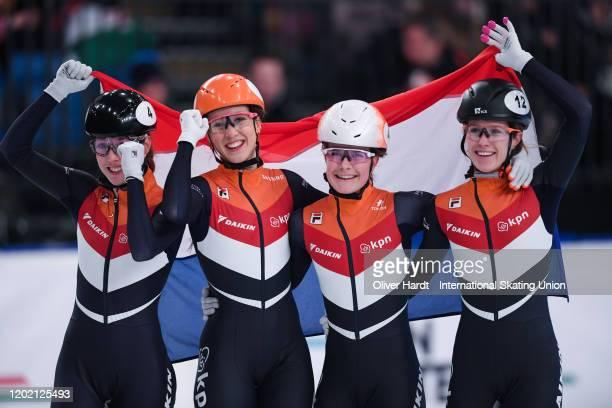 Lara van RuijvenSuzanne SchultingYara van Kerkhof and Rianne de Vries of the Netherland celebrate after the Ladies 3000m Relay final race during the...
