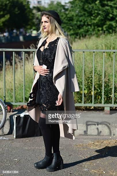 Lara wearing a dress by Hallhuber during the MercedesBenz Fashion Week Berlin Spring/Summer 2017 on June 29 2016 in Berlin Germany