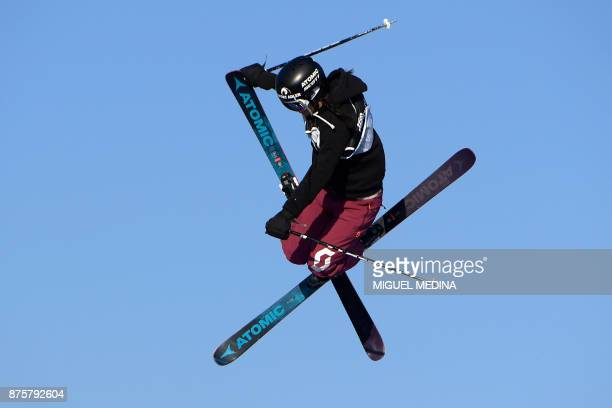 Lara Wolf from Austria competes during the Women's qualification round at the FIS Freestyle World Cup Big Air in Milan on November 18 2017 / AFP...