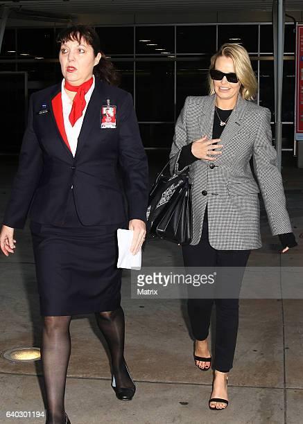 Lara Worthington arrives at Sydney Airport on January 30 2017 in Sydney Australia