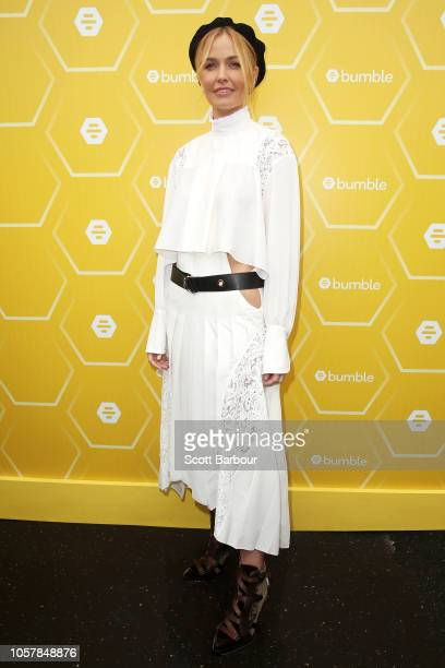 Lara Worthington poses at the Bumble Birdcage Marquee on Melbourne Cup Day at Flemington Racecourse on November 6 2018 in Melbourne Australia