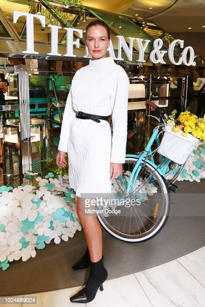 Lara Worthington poses at the Tiffany Co Paper Flowers Launch on August 28 2018 in Melbourne Australia