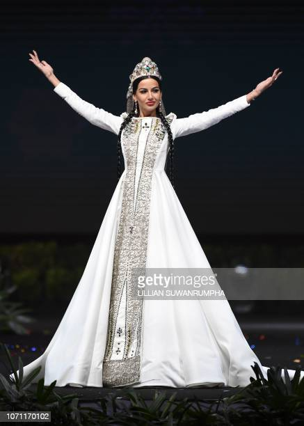 Lara Yan Miss Georgia 2018 walks on stage during the 2018 Miss Universe national costume presentation in Chonburi province on December 10 2018