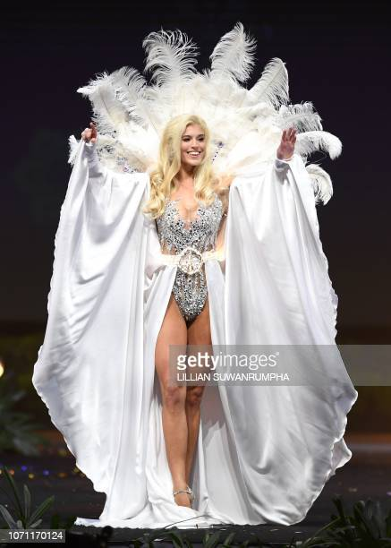 Lara Yan Miss Georgia 2018 walks on stage during the 2018 Miss Universe national costume presentation in Chonburi province on December 10 2018