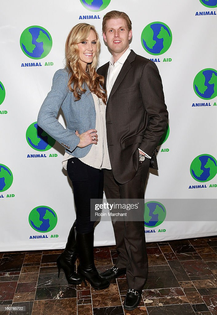 Lara Yunaska (L) and Eric Trump attends Animal AID One Year Anniversary Celebration at Thomson Hotel LES on February 5, 2013 in New York City.