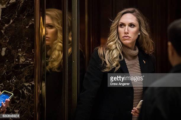 Lara Yunaska Trump wife of Eric Trump arrives at Trump Tower January 3 2017 in New York City Presidentelect Donald Trump and his transition team are...