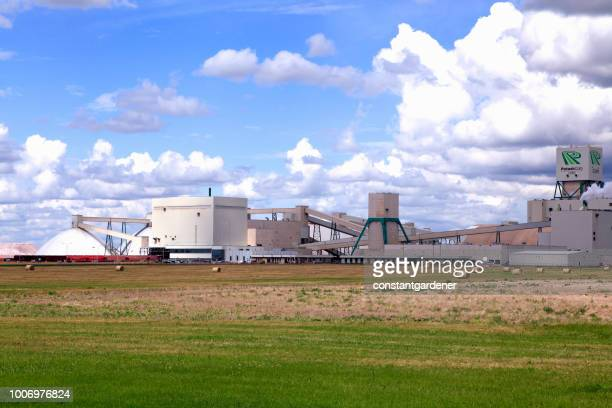 larage potash plant on the canadian prairie - potash stock pictures, royalty-free photos & images