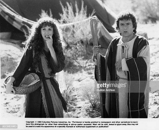 Laraine Newman and Dudley Moore looked shocked in a scene for the movie Wholly Moses circa 1980