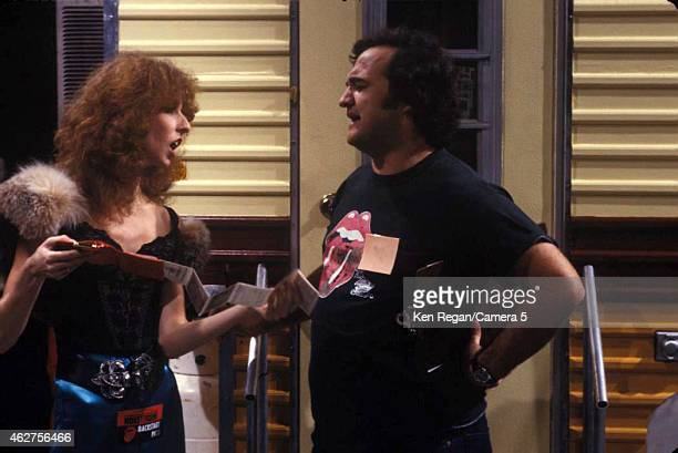 Laraine Newman and John Belushi are photographed on the set of Saturday Night Live in 1978 in New York City CREDIT MUST READ Ken Regan/Camera 5 via...