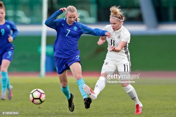 LaraMarie Cordes of Girls Germany U16 challenges Ella Peddermors of Girls Netherllands U16 during UEFA Development Tournament match between U16 Girls...