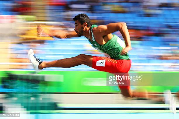 Larbi Bourrada of Algeria competes in the Men's Decathlon 110m Hurdles on Day 13 of the Rio 2016 Olympic Games at the Olympic Stadium on August 18...