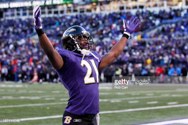 Lardarius Webb of the Baltimore Ravens celebrates after a pass was interecepted by teammate Ed Reed during the fourth quarter of the AFC Divisional...