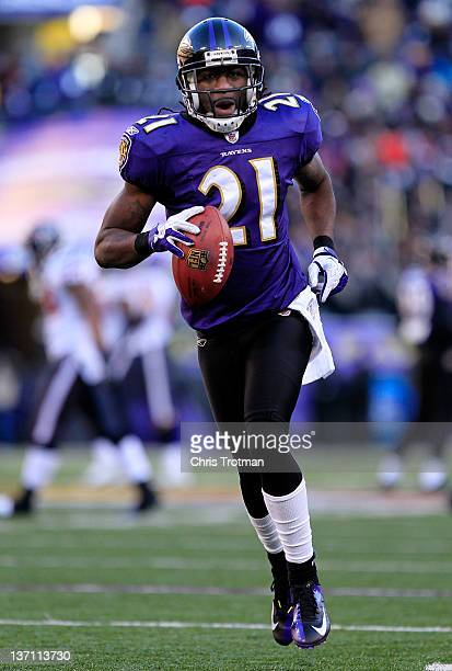 Lardarius Webb of the Baltimore Ravens celebrates intercepting the ball against the Houston Texans during the AFC Divisional playoff game at MT Bank...