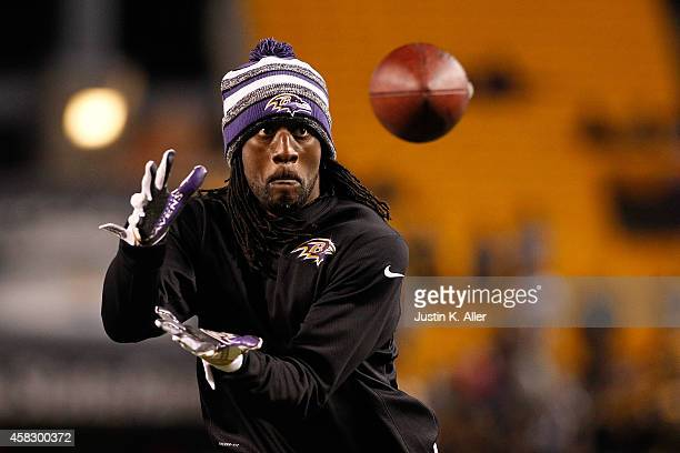 Lardarius Webb of the Baltimore Ravens warms up prior to the game against the Pittsburgh Steelers at Heinz Field on November 2 2014 in Pittsburgh...