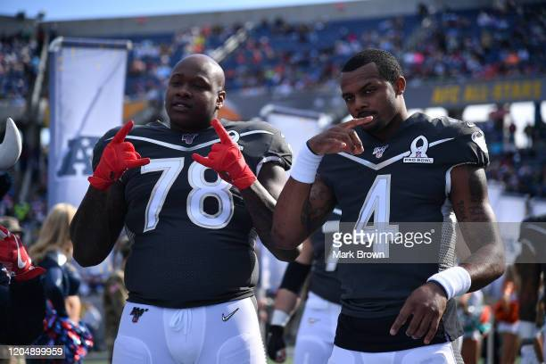 Laremy Tunsil and Deshaun Watson of the Houston Texans pose during the 2020 NFL Pro Bowl at Camping World Stadium on January 26 2020 in Orlando...