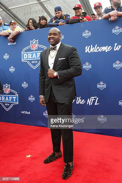 Laremy Tunsil of Mississippi arrives to the 2016 NFL Draft at the Auditorium Theatre of Roosevelt University on April 28 2016 in Chicago Illinois