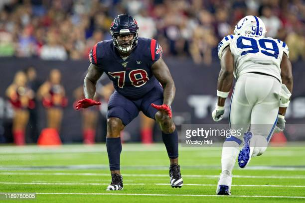 Laremy Tunsil of the Houston Texans drops back to pass block during a game against the Indianapolis Colts at NRG Stadium on November 21 2019 in...