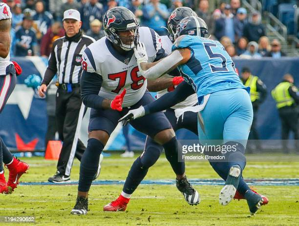 Laremy Tunsil of the Houston Texans plays against the Tennessee Titans at Nissan Stadium on December 15 2019 in Nashville Tennessee
