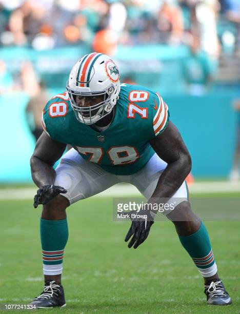 Laremy Tunsil of the Miami Dolphins in action during the game against the Buffalo Bills at Hard Rock Stadium on December 2 2018 in Miami Florida