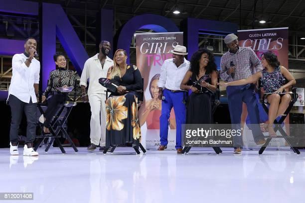 Larenz Tate Jada Pinkett Smith Kofi Siriboe Queen Latifah Will Packer Tiffany Haddish Malcolm Lee and Regina Hall from the movie Girls Trip speak...