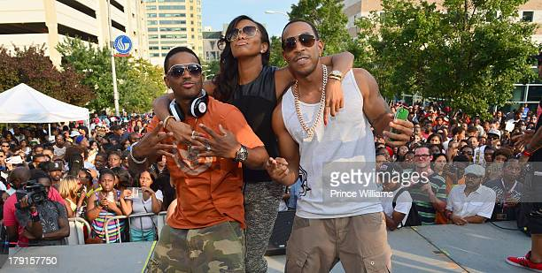 Larenz Tate Letoya Luckett and Ludacris are seen on stage at the LudaDay Weekend Black Party hosted by Teyana Taylor at Georgia State University on...