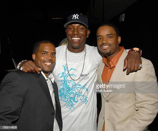 Larenz Tate Tyrese Gibson and Lahmard J Tate in Backstage Creations 2006 BET Awards The Retreat