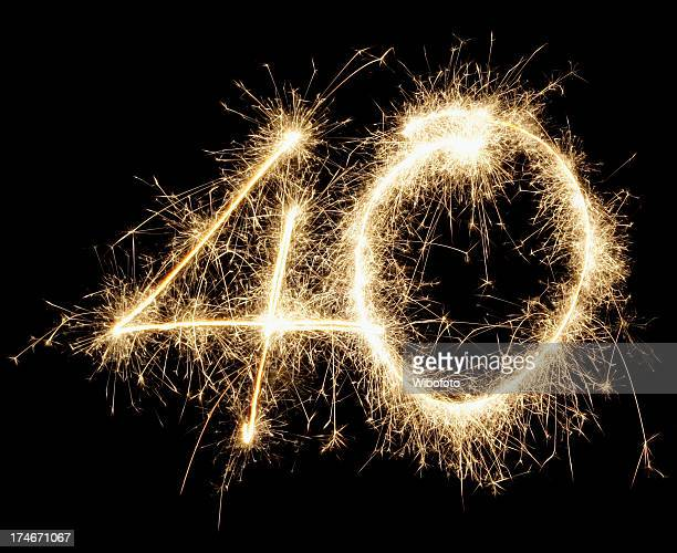 a large 40 made out of fireworks - number 40 stock photos and pictures