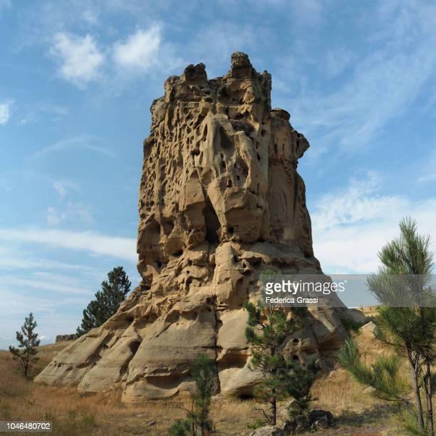 Large Aerie (Eagle Nest) On Rock Formation At Medicine Rocks State Park, Montana