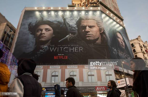 A large American global ondemand Internet streaming media provider Netflix and Witcher tvshow advertisement seen in Spain