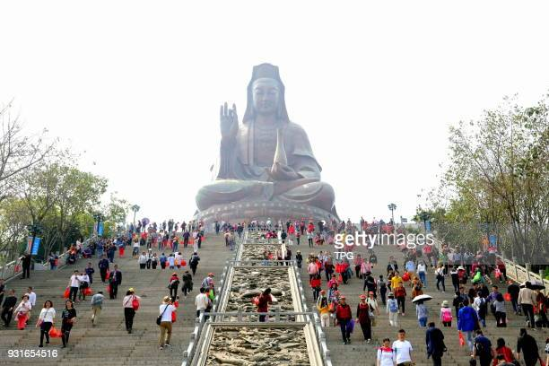 Large amount of Buddhists borrow fortune from Avalokitesvara at the traditional 'Jieku Day' on 13 March 2018 in Foshan Guangdong China