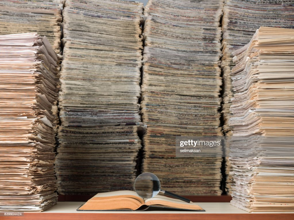 Large Amount Of Documents, Books And Newspapers In Library : Stock Photo