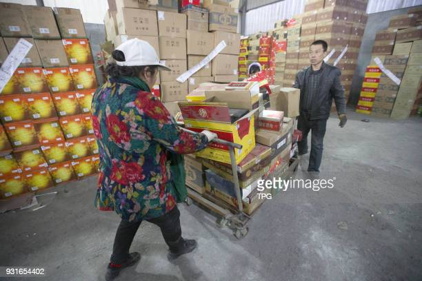 Large amounts of adulterated wine being destroyed as the 315 International Consumer Rights Day is coming on 13 March 2018 in Taiyuan Shanxi China