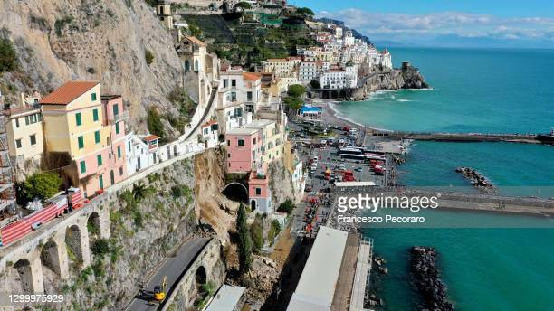Large amounts of boulders and debris block the Amalfi state road after a landslide following torrential rains on February 02, 2021 in Amalfi, Italy....