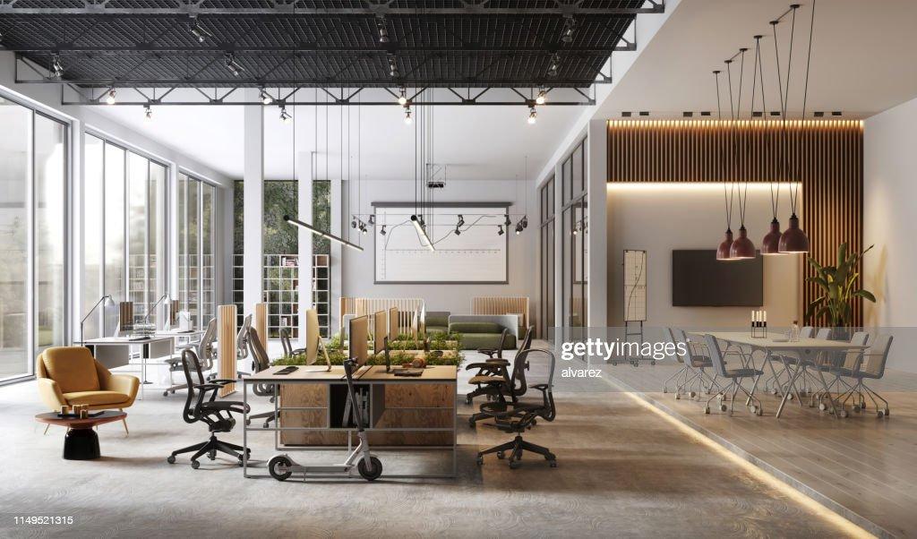 Großes und modernes BürointerieInterieur : Stock-Foto