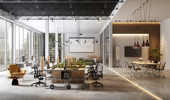Large and modern office interiors 1149521315