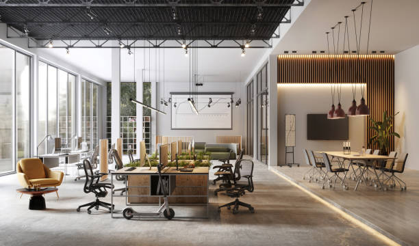 large and modern office interiors - modern stock pictures, royalty-free photos & images