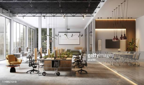 large and modern office interiors - moderno foto e immagini stock